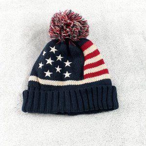 Modena Americana Pom Pom Flag Stars Stripes Beanie